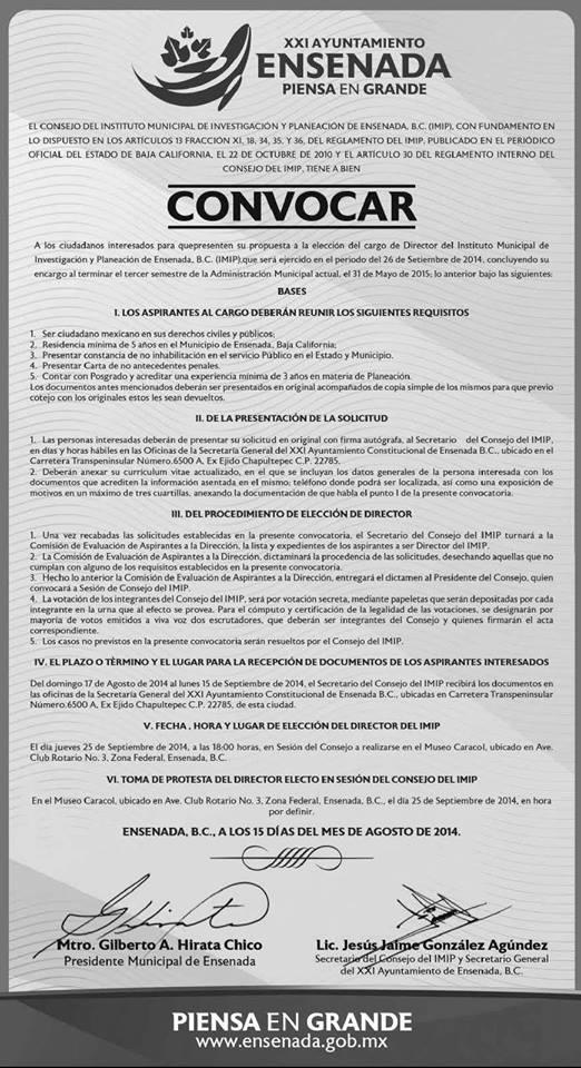 Convocatoria Elección Director IMIP